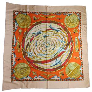 Auth Hermes REVES DESPACE Dream Space Silk Scarf Space Beige,Orange