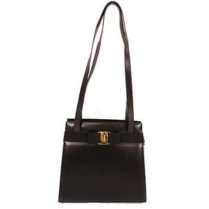 Salvatore Ferragamo Vara Tote Bag Women's Leather Handbag,Shoulder Bag,Tote Bag Black
