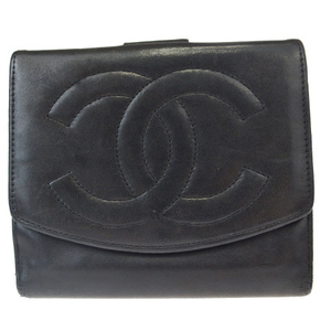 Chanel Coco Mark Leather Wallet (tri-fold) Black
