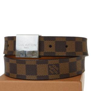 ルイ・ヴィトン(Louis Vuitton) ダミエ エベヌ サンチュール キャレ M6803 PVC, レザー ベルト ブラウン