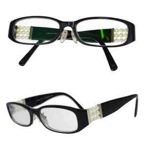 Chanel Imitation Pearl 3155-H Eyeglasses Plain Black