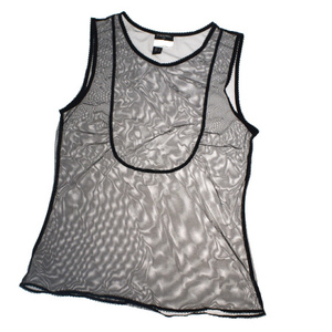 Chanel See-through 07P Women's Casual Sleeveless Shirt 36 Black