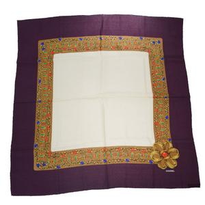 Chanel Accessories Pattern Silk Scarf Purple