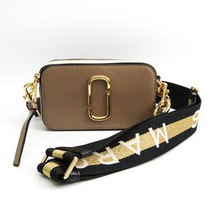 Marc Jacobs Snapshot M0014146 Unisex Leather Shoulder Bag Black,Ivory,Light Brown