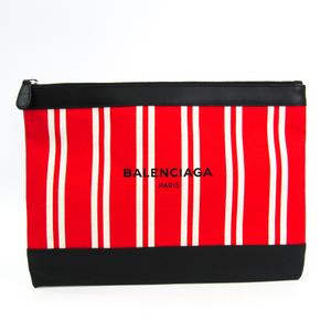 バレンシアガ(Balenciaga) ネイビークリップ M 420407 レディース レザー,キャンバス クラッチバッグ ブラック,レッド,ホワイト