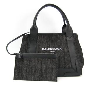 バレンシアガ(Balenciaga) ネイビーカバスS 339933 ユニセックス デニム,レザー トートバッグ ブラック