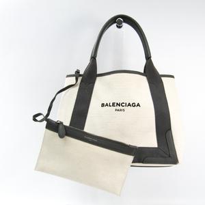 バレンシアガ(Balenciaga) ネイビーカバスS 339933 ユニセックス キャンバス,レザー トートバッグ グレー,アイボリー