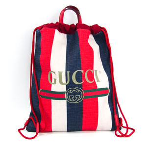 Gucci Print Medium Drawstring Backpack Stripe 473872 Unisex Canvas,Leather Backpack Ivory,Navy,Red