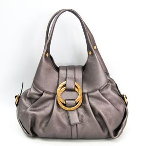 Bvlgari Chandra 32302 Women's Leather Shoulder Bag Gray