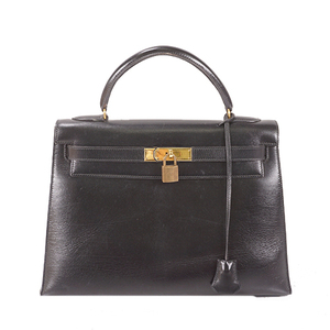 Auth Hermes Kelly 32 〇T Stamp Mark Box Calf Leather