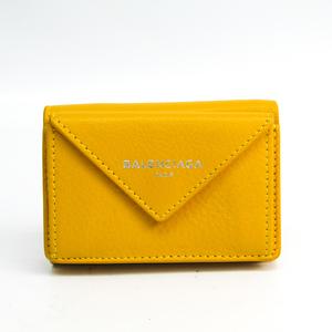 Balenciaga Paper Mini Wallet 391446 Women's Leather Wallet (tri-fold) Yellow