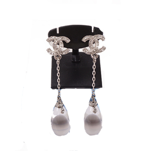 Auth Chanel Earrings Coco Mark Rhinestone Silver Color Earrings Silver