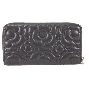 Chanel Camellia Bi-fold Longwallet Women's  Lambskin Long Wallet (bi-fold) Black