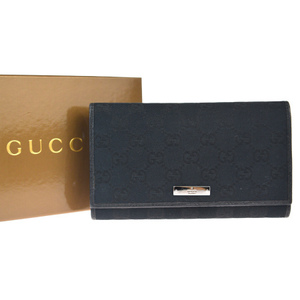 Gucci GG Pattern Canvas,Leather Long Wallet (bi-fold) Black