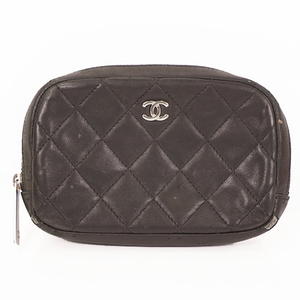 Chanel Matelasse Pouch Women's Leather Pouch Black