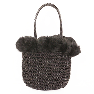 Anteprima Wire Bag Women's Fur Handbag Black