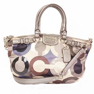 Coach Op Art 19179  Women's Nylon Handbag,Shoulder Bag Gray,Ivory