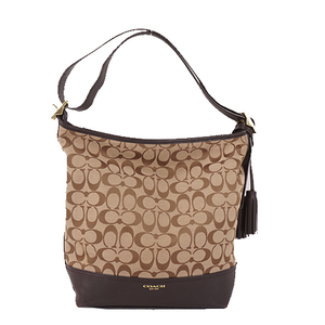Coach Signature 25380 Women's Canvas Shoulder Bag Beige