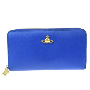 Vivienne Westwood Orb Round Zipper Wallet Leather Wallet Blue