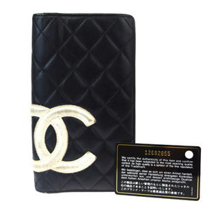 Chanel Cambon Coco Mark Leather Long Wallet (bi-fold) Black