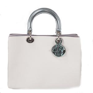 Christian Dior Diorissimo 2WAY Bag Women's Leather Handbag,Shoulder Bag White