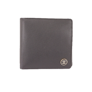 Chanel Coco Button Two-fold Wallet Women's Leather Wallet (bi-fold) Black