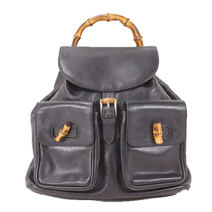 Auth Gucci Bamboo Rucksack Women's Leather Backpack Black