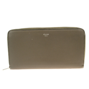Celine Round Zipper Wallet Leather Wallet Brown