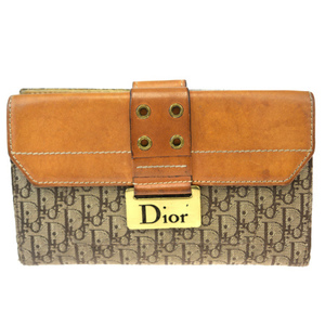 Christian Dior Trotter Canvas,Leather Middle Wallet (tri-fold) Brown