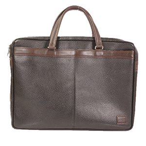 Auth Porter Briefcase Leather Black,Brown