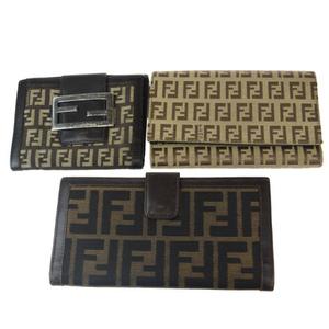 フェンディ(Fendi) ズッカ 3点セット ナイロン,レザー 長財布(三つ折り) ブラウン