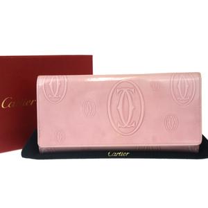 カルティエ(Cartier) ハッピーバースデー パテントレザー 長財布(二つ折り) ピンク
