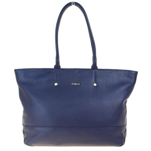 Furla Leather Tote Bag Purple Blue