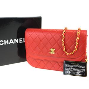 シャネル(Chanel) ココマーク チェーン レザー ショルダーバッグ レッド