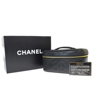 シャネル(Chanel) ココマーク キャビアスキン レザー バニティバッグ ブラック
