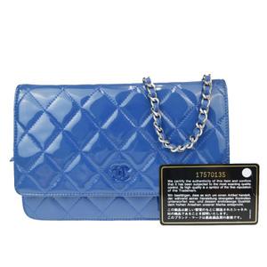 シャネル(Chanel) ココマーク チェーン 2WAY パテントレザー ショルダーバッグ ブルー