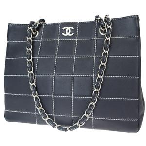 シャネル(Chanel) チョコバー ワイルドステッチ ココマーク チェーン レザー ショルダーバッグ ネイビー