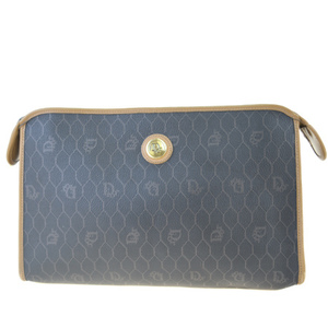 Christian Dior PVC,Leather Clutch Bag Brown