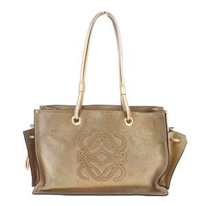 Loewe Lame Suede,Leather Shoulder Bag Beige