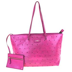 フェンディ(Fendi) パンチング レザー ショルダーバッグ ピンク