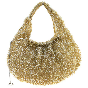 Anteprima Rhinestone Wire PVC,Suede Handbag Gold