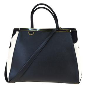 Fendi 2Jours 2WAY Leather,Leather Handbag Black