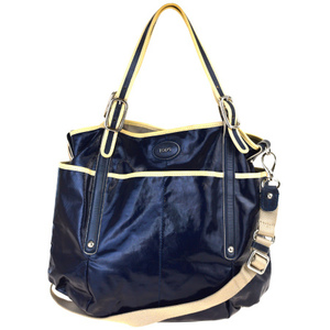 Tod's 2WAY Coated Canvas,Leather Handbag Navy