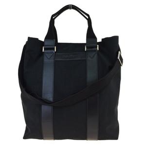 Ferragamo 2WAY Canvas,Leather Tote Bag Black