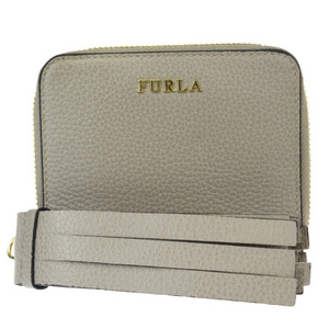 Furla Round Zipper Wallet Fringe Leather Wallet Gray