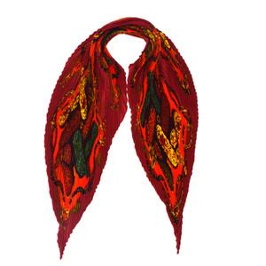 エルメス(Hermes) プリーツスカーフ カレ シルク スカーフ レッド