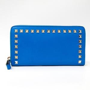 バレンチノ(Valentino) ロックスタッズ ウォレット レディース  カーフスキン 長財布(二つ折り) ブルー