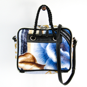 Balenciaga Blanket Square S 466541 Women's Leather Handbag Blue,Multi-color,Navy