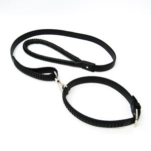 Gucci 115272 Dog Collar & Leash Set Leather Metal Black