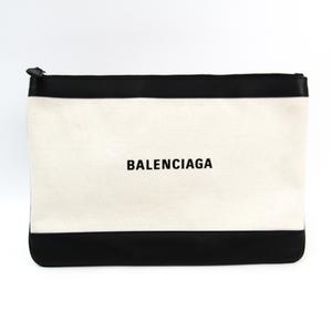 Balenciaga NAVY CLIP M 420407 Women's Canvas,Leather Clutch Bag Black,Ivory